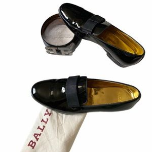 Bally black patent leather loafers size 44